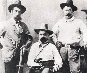William A. Pinkerton, center, the founder's son, and two of his agents, Pat Connell, left, and Sam Finley in the 1870s.